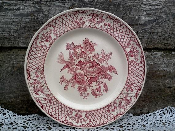 "Masons ""STRATFORD"" Red Transferware Dinner Plate, 10 1/2"", Serving, Wall Decor, Holiday, English Transferware, Floral, Lattice, Birds"