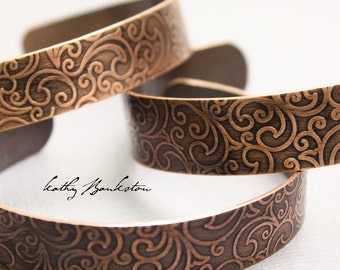 Copper Cuff, Copper Cuff Bracelet, Handmade Embossed Copper Bracelet, Copper Bracelets, Embossed Bracelets, Kathy Bankston, Copper Jewelry