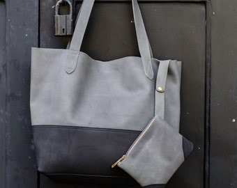 Black & Grey Leather Large Tote Bag