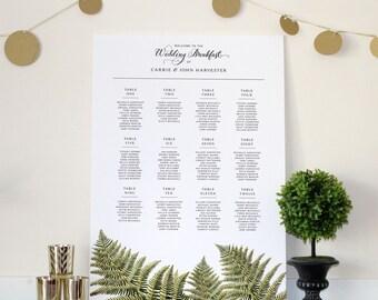 Forest Fern Botanical Woodland Wedding Seating chart, Various Sizes
