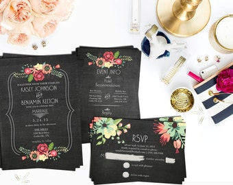 Invitation + RSVP + Info   Chalkboard Floral