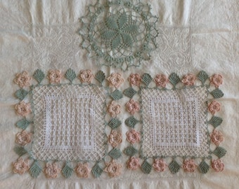 Vintage doilies / crocheted lace doilies / square doily with flower edge / white with green and pink doilies / cottage charm decor