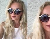Round Sunglasses/ Black and Gold Sunglasses/ Black Sunnies/ Gold Sunnies/ Sunglasses/ Black Round Sunglasses/ Oversized Sunglasses