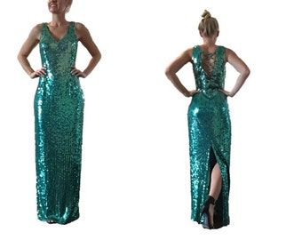 Amazing Papell Boutique Vintage Green Teal Maxi Sequin Gown with Open Back