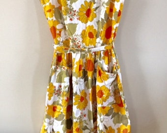 SALE-Vintage 1950's Pin Up Girl Bill Sims Yellow Floral Sundress with Belt and Pockets