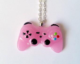 Pink Playstation Controller Necklace - Gamer Girl Nerdy Jewelry Geeky Jewelry Geeky Necklace Gamer Necklace Gamer Jewelry Nerdy Gift