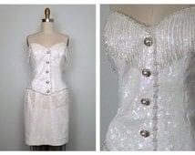 LILLIE RUBIN Fringe Beaded Dress // Iridescent Sequined Pearl Beaded Dress // White Sequin Embellished Dress