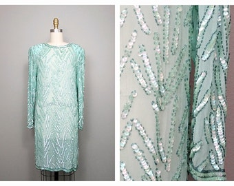 Mint Green Beaded Sequin Dress // Sheer Sequined Dress // Wiggle Dress // Vintage Party Dress // Seafoam Green