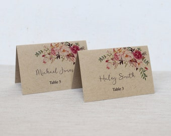 Kraft Place Cards, Floral Wedding Place Cards, Rustic Wedding Place cards, Wedding Place Cards. Escort Cards, Kraft Paper Wedding Place card