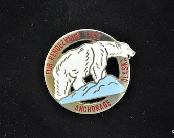 Alaska 1980 Fur Rendezvous Anchorage Vintage  Rondy Polar Bear Pin Pendant