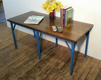 Coffee Table Metal and Wood Vintage Steel Table Oak Wood Top Blue Paint Console Hallway Table Media Stand