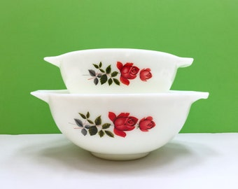 JAJ Pyrex 'June Rose' Pair of Mixing Bowls (c. 1965-71