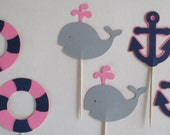 12 Nautical Whale, Preserver, and Anchor Cupcake Toppers, for birthday, baby shower, nautical decorations pink gray navy