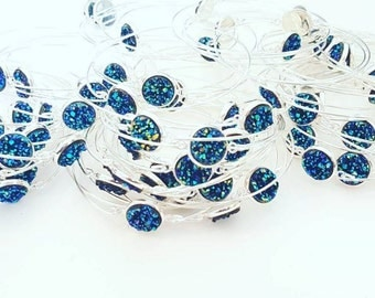 Druzy Bangle Bracelet - Silver Bangle Bracelet - Silver Bracelet - Blue Druzy Bracelet - Simple Jewelry - Gift for Her
