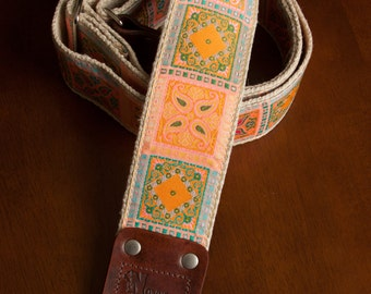 Light Pink/Orange Hemp Guitar Strap