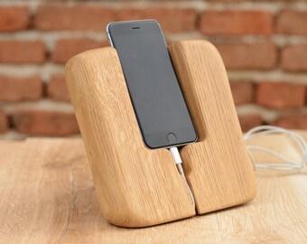 iPhone Docking Station, Handmade iPhone 7 Holder, Tech Accessory, Men Gift, Wood iPhone 6 Charging Station, Desk Organizer, Phone Docking