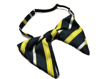 70s striped bow tie - vintage bow tie - germany fashion