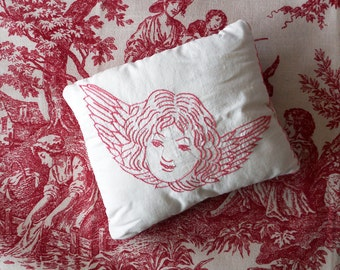 Antique Red Work Embroidered Angel Pillow / Repurposed Quilt Square Small Pillow