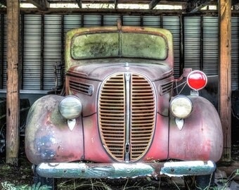 1938 Ford Fire Truck, Rusty Classic Cars, Classic Car Photography, Fire Truck Photo, 1938 Ford, Large Wall Art