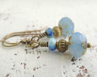 Serenity Blue Earrings Rustic Sky Blue Wedding Jewelry Small Blue Dangles Boho Beaded Earrings Light Blue Dangles Vintage Inspired Earrings