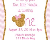 Pink and Gold Glitter Minnie Mouse Invitations, Minnie Mouse Birthday, Pink Minnie Mouse invitations, Minnie Mouse party