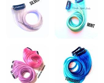 Hair Extensions, Custom Rainbow, Pastel, Ombre, Dip Dye Clip in Hair, Human Hair Extension