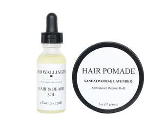 Mens Grooming Gift Set/Hair Pomade / Hair and Beard Oil /gifts for men / grooming for men / body care/ holiday stocking stuffers