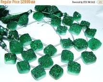 "BIG SALE Green Druzy Big Cusion Shapes- 8"" Strand -Stones measure- 10-17mm"