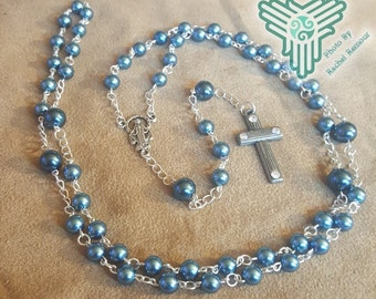 Five Decade Blue Pearl and Silver Chain Rosary Free Domestic Shipping
