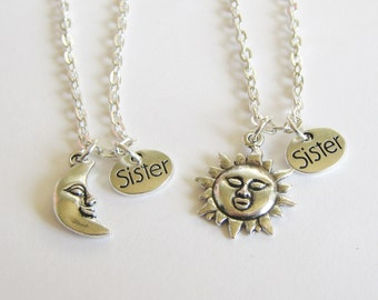 2 Sun And Moon Sisters Bff Necklaces