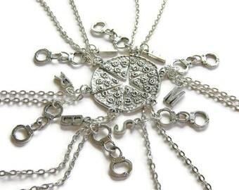 6 Pizza Handcuff Partner In Crime Initial Best Friends Necklaces, 6 Best Friends, 6 Best Friends Necklaces, 6 BFF Necklaces, Six Best Friend