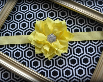 SALE - Yellow Chiffon Flower with Rhinestone on FOE Elastic Headband, Clothing Accessory for Baby and Toddler Girls, Photo Prop