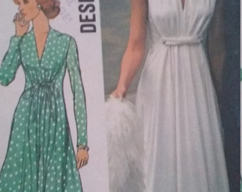 Vintage Simplicity 6672 Sewing Pattern Size 10 Evening Dress in Two Lengths Designer Fashion