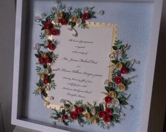 Light Blue And Gold Theme Wedding Invitation Framed Keepsake