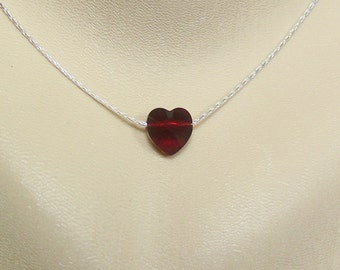 Ruby Crystal Heart Necklace, Valentine Necklace, Sweetheart, Ruby Heart, Swarovski Crystal Heart, Floating Heart Necklace, Wedding Necklace
