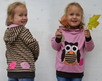 Kids fall owl hoodie,autumn leaves and owl sweater,baby owl clothes,girl fall outfit,toddler girl gift-reversible,pale pink/brown stripes