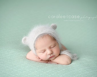 Newborn {Little Bear Ears} Knit Angora Bear Bonnet, Newborn Photography Prop, Several Color Options