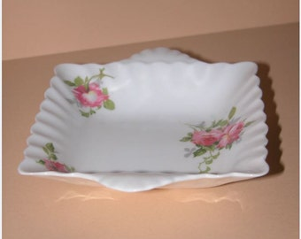 Pretty Vintage Crown Staffordshire Porcelain Pin Tray decorated with pink roses