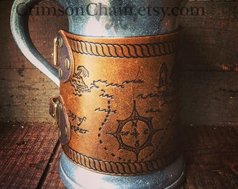 Pirate Treasure Mug - by Crimson Chain leatherworks - SCA Larp Renactment Garb Costume Pirate Yarr