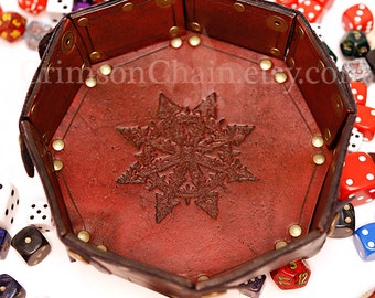 Chaos Star - Red -  collapsible dice tray by Crimson Chain Leatherworks
