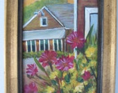 Ogunquit Maine Original Fine Art Painting Flowers Sunrise Landscape Plein Air Perkins Cove Framed 5 x 7 Acrylic on board panel Ready to Hang