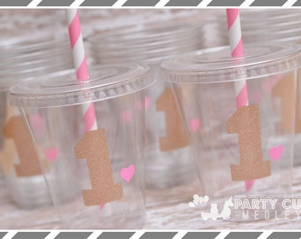 Pink and Gold First Birthday Party, Set of 8 or 12 You Choose Party Cups, Favor Cups or Reusable Souvenir Cup