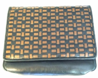 Vintage Black and Brown Clutch w/ Strap