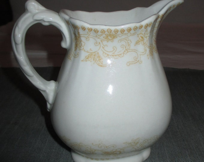 1880 John Maddock and Sons WALDORF Small Pitcher Milk Jug, Yellow Flowers Scroll