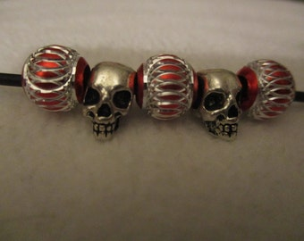 Skull and bead necklace