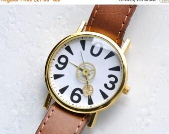 SALE - Skeleton Watch, Mens watch, Vintage Watch Gears, minimalist watch ,Russian watch, minimalist watch, Black watch , soviet watch