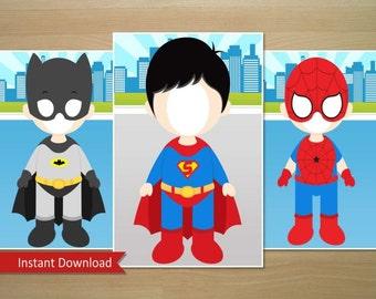 Super Hero Photo Booth Prop (Batman, Superman, Spiderman) - Instant Download (Digital File)