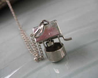 """Circa 1970's Stainless Steel Wishing Well Charm w/silver tone 18"""" chain-tiny bucket and crank"""