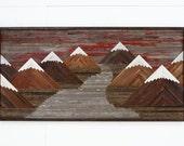 "Wood wall art of a Fiery Sunset Mountain landscape 60""L x 30""H"