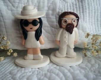John Lennon and Yoko Ono wedding polymer clay figurines